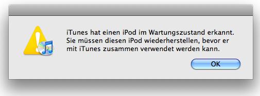 iPod wiederherstellen error