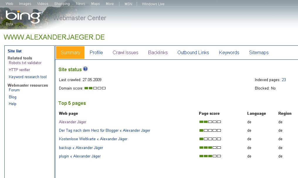 Bing Webmaster Central Screenshot