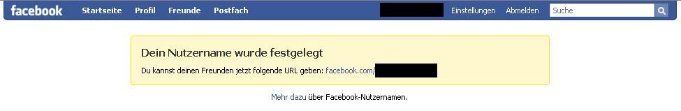 Facebook Username Funktion