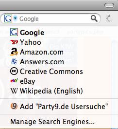 Party9.de Usersuche als OpenSearchbar