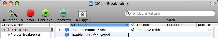 XCode automatischer Breakpoint