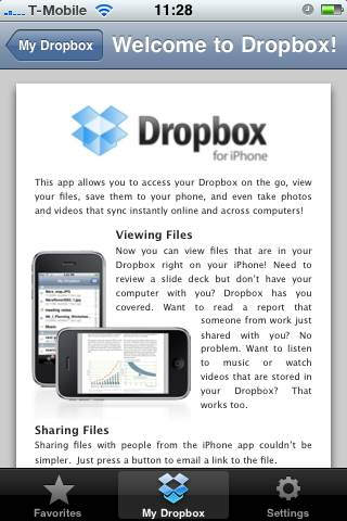 Get Dropbox welcome screen iphone app