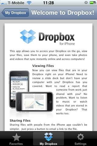 Get Dropbox welcome screen iphone app